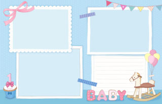 'korean','scrapbook','baby','birthday','invitation'